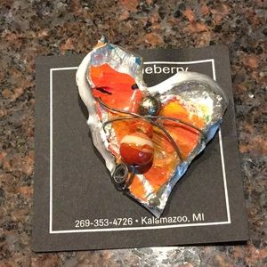 Accessories - Hand-made orange and silver heart pin